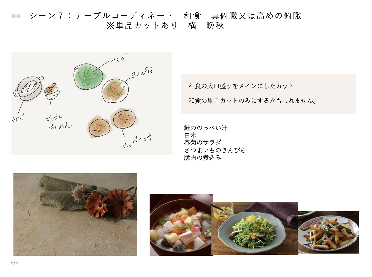 和食のフードスタイリングラフ