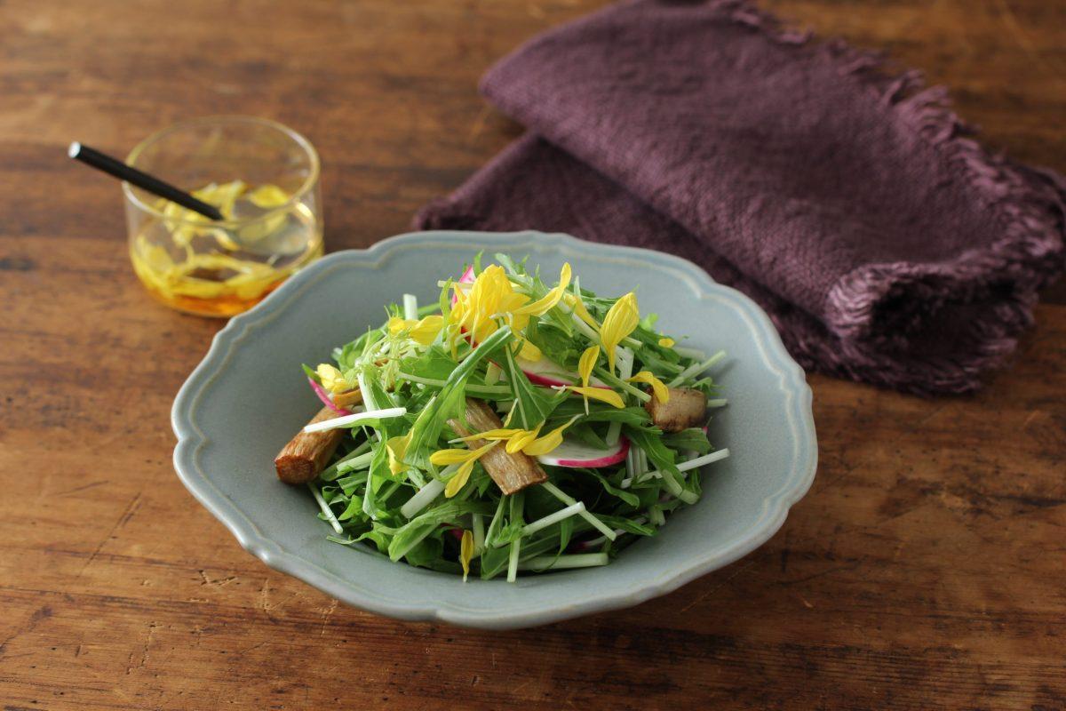 水菜と揚げごぼうの和サラダ | フードスタイリスト 河合真由子
